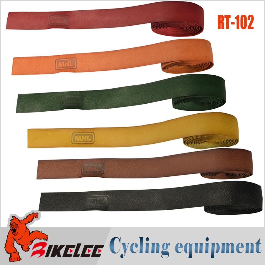 2015 MHL RT-102 hot cycling road mtb bike bicycle Handlebar Tape non-slip grips sweatband Genuine Leather grip tape Handle Belt(China (Mainland))