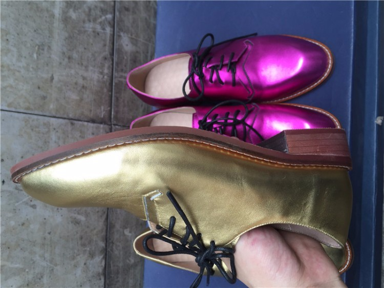 Women Genuine leather Vintage Flat Oxford Shoes Woman flats 2017 Fashion lace up British style Brogue Oxfords women shoes golden
