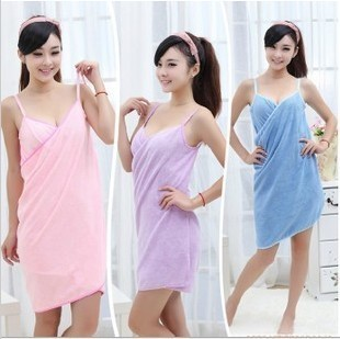 Magic Microfiber towel soft Super absorbent spaghetti strap bath bathrobe dress BJ-18  -  Yiwu Active Combine store
