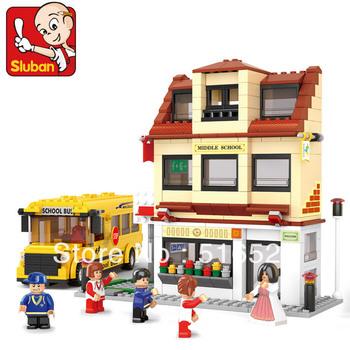 Sluban City School Passenger Bus B0333 Building Block Sets 487pcs Educational DIY Jigsaw Construction Bricks toys for children
