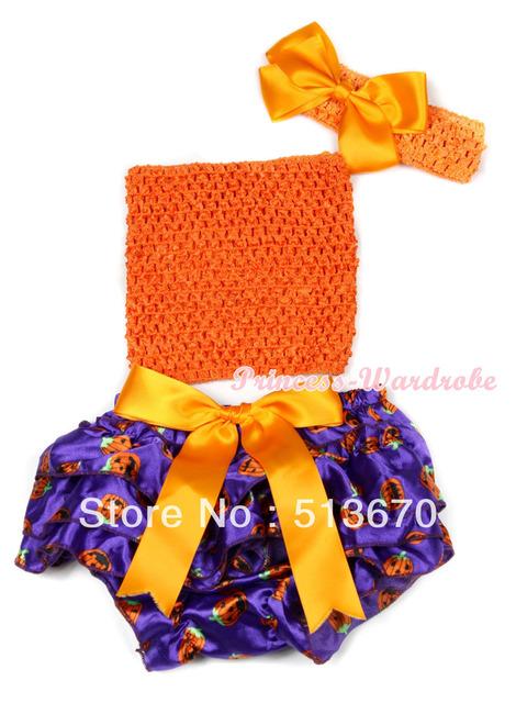 Halloween Orange Big Bow Dark Purple Pumpkin Satin Bloomer ,Orange Crochet Tube Top Headband Silk Bow 3PC Set MACT622