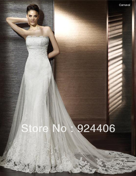 Free shipping,Customize,Simple,Wedding dress,Weddinggown.Close,Strapless,Hi-Lo,Sweep/Brush,Sequin,Applique,Embroidery,Chiffon