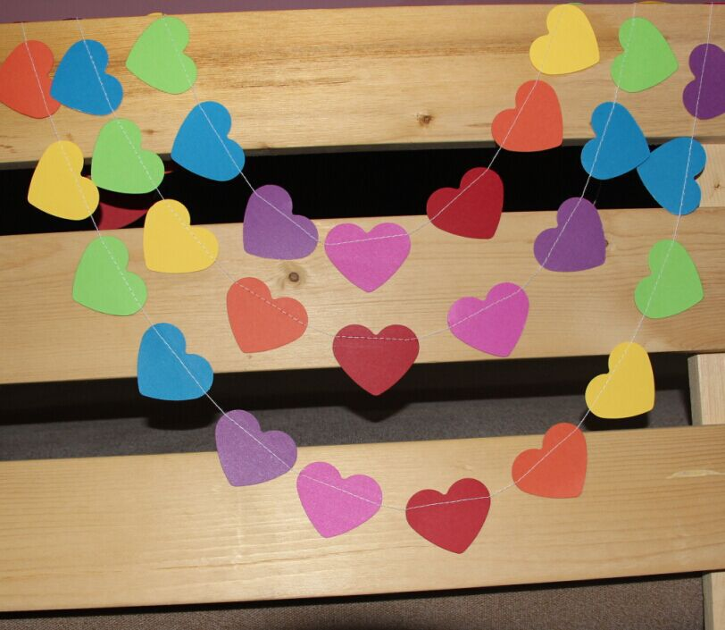 New Product Party Paper Decoration For Wedding Valentine Baby Shower Rainbow Heart Garland(China (Mainland))