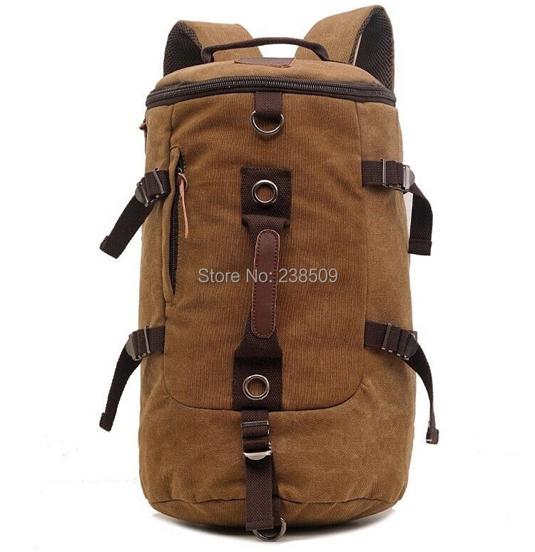 New 2014 Casual Canvas Backpack Men's Travel Bags Sport Outdoor Rucksack Satchel Hiking Bag Barrel-shaped