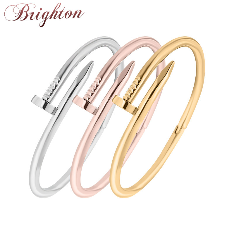 2015 New TOP QUALITY Stainless Steel Nail Bracelet Silver/Rose Gold/18K Real Gold Plated Women Jewelry Nail Screw Cuff Bangle(China (Mainland))