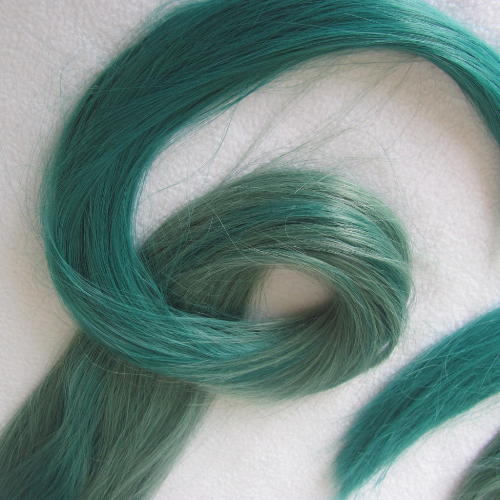 VOCALOID Hatsune Miku 2 x clip ponytail Props green gradient color cosplay Wig