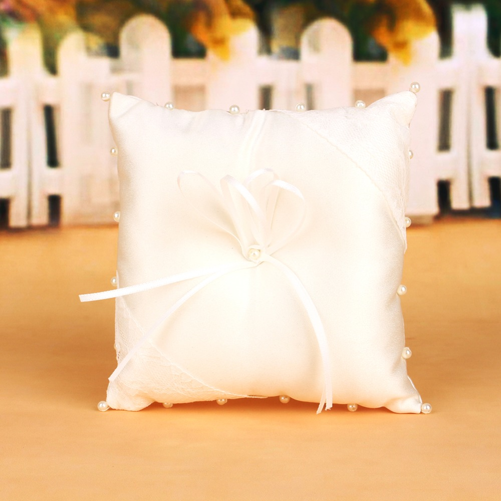 Wedding Ring Pillow White Bridal Wedding Ceremony Ring Bearer Pillow Cushion Crystal Lace Pear Ring Holder(China (Mainland))