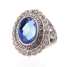 2014 Fashion Accessories For Women Cheap Jewelry Kuniu Lots White Gold Ring RetroFor Women With Crystalls Blue Stone Ring