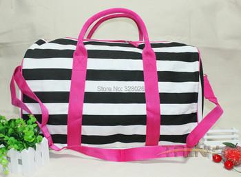 Hot Sale New High-quality original canvas travel sport women Black white stripes Pink edge straps messenger bag handbag Brand
