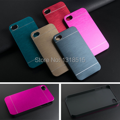 Luxury Brushed Metal Aluminium material case for iphone 4s 4 hard back phone case cover(China (Mainland))