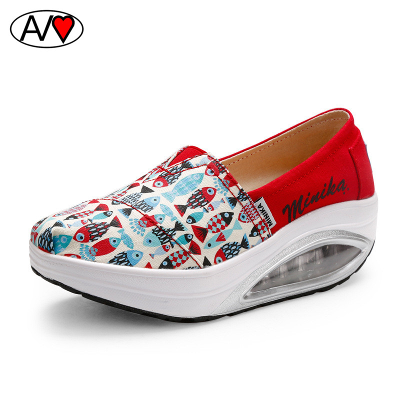 New slip on canvas shoes for women 2016 fish print women for Platform shoes with fish