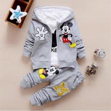 2016 winter children's clothing  set kids  Cartoon Mouse T-shirt hoodie coat + pants 3pcs suit  baby boy cotton set(China (Mainland))