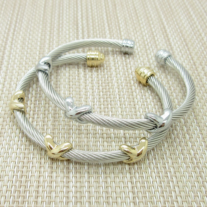 Fashion Twisted Cable Bracelet Stainless Steel Silver Gold Cross Charm Open Cuff Bangle Cable Wire Bracelet Pulseras Jewelry