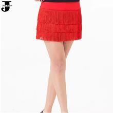 2015 New Latin Dance Skirt 3 Layer Tassel Cha Cha/Rumba/Samba/Tango Dance Skirt Red/Black/Rose Dress For Dancing For Sale DQ3018