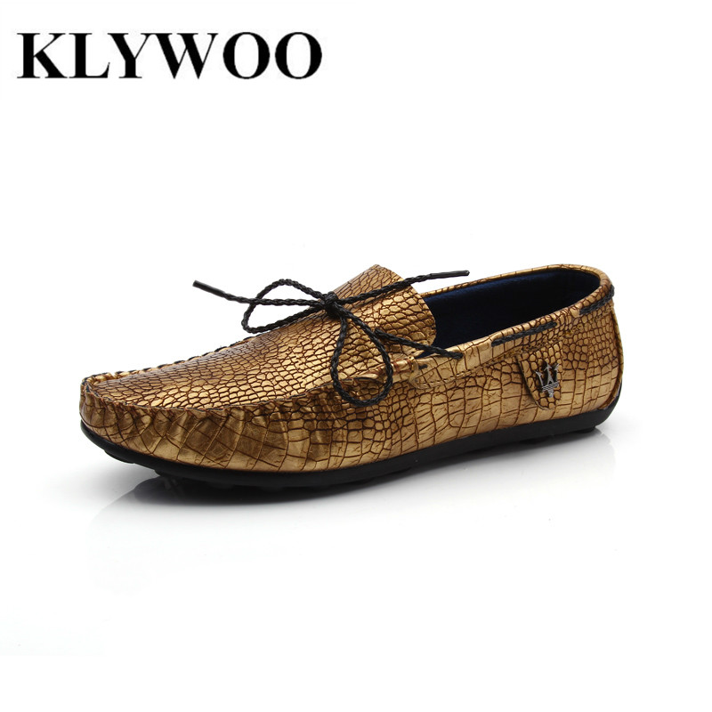 Men Shoes Fashion New Men Loafers Spring Summer Cool Mens Flats For Men Casual Shoes Leather Breathable Comfortable Gold Slip-on<br><br>Aliexpress