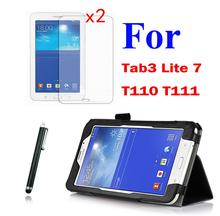Фолио стенд кожаный чехол ремешок и держатель + 2 * ясно Films стилус для Samsung Galaxy Tab 3 Tab3 Lite 7 7.0 T110 T111