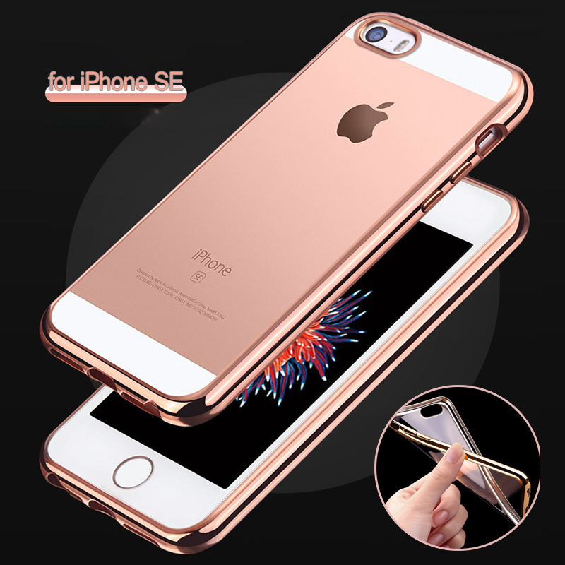 for iPhone SE Ultra Slim Luxury Electroplating Crystal Soft Silicon Clear TPU Case Transparent Back Cover Cheap for iPhone 5S 5G(China (Mainland))