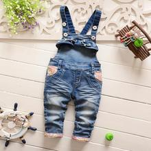 2016 Spring Autumn Children Clothing Roupas De Bebe Kids Baby Vintage Washed Flora Denim Jeans Overall Long Pants Trousers S2774