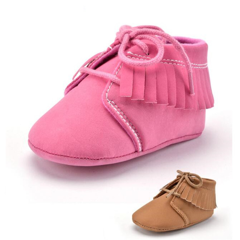 The New Tassels solid color Baby shoes Newborn Flock Soft Bottom Pre walkers Boots Retro Style lace-up shoes(China (Mainland))