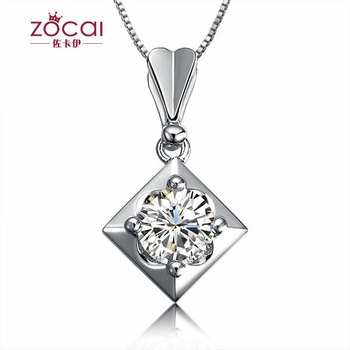 ZOCAI 0.3 CT GIA CERTIFIED E / VVS2 / VG DIAMOND Pendant Diamond 18K WHITE Gold 925 STERLING SILVER CHAIN Necklace FREE SHPPING