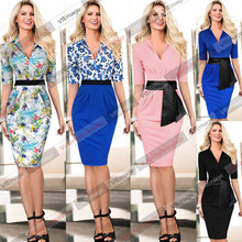 2015 New Women Summer Elegant Synthetic Leather Belt Colorblock Tunic V Neck Tropical Print Party Evening Sheath Dress 447(China (Mainland))