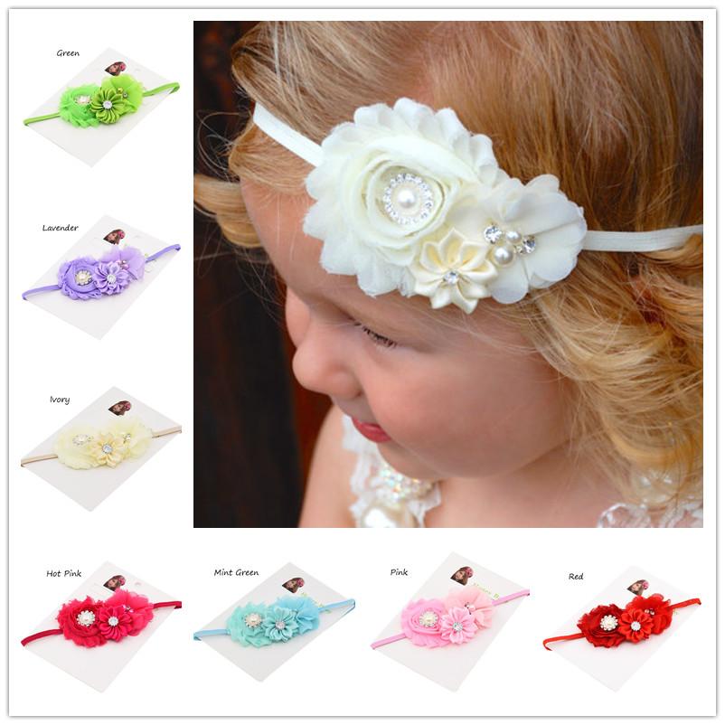 1pcs shabby chic flower hair bows chiffon flower baby headband sequin hair bow Baptism Gift hair accessory children hairbows(China (Mainland))