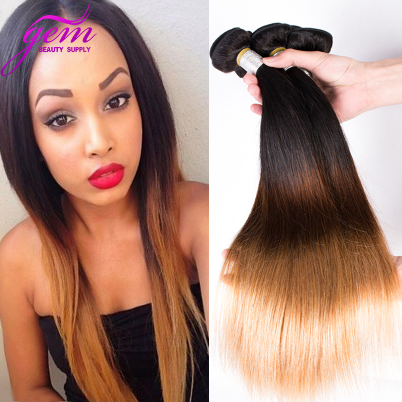 Peruvian Ombre Straight Virgin Hair 4 Bundles Three Tone 1B/4/27 Peruvian Virgin Hair Straight Honey Blonde Human Hair Weaves