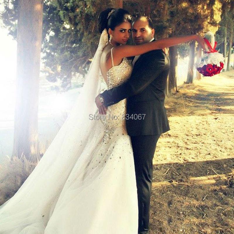 Сказал Mhamad старинные свадебное платье русалка люкс с кристаллами 2016 сексуальная спинки свадебное свадебные платья vestido де noiva