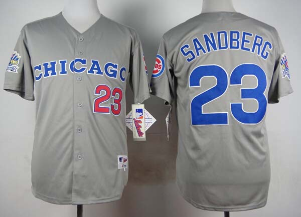 New Chicago Cubs #23 Ryne Sandberg 1990 vintage gray reverse Baseball Jersey Free shipping(China (Mainland))
