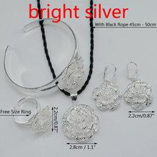 Anniyo עלה סט תכשיטי פרחי תליון שרשרת עגיל צמיד טבעת כסף/זהב צבע אפריקאי סט #055506(China)