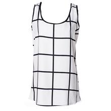 Summer Women Chiffon Sleeveless Tops Loose Blouse  Vest White+Black(China (Mainland))