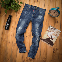 2015 New Arrive Men Brand Denim Jeans Blue Paint Scratched Hole Spliced Patch color Distrressed Slim Pants Free Shipping#LS513(China (Mainland))