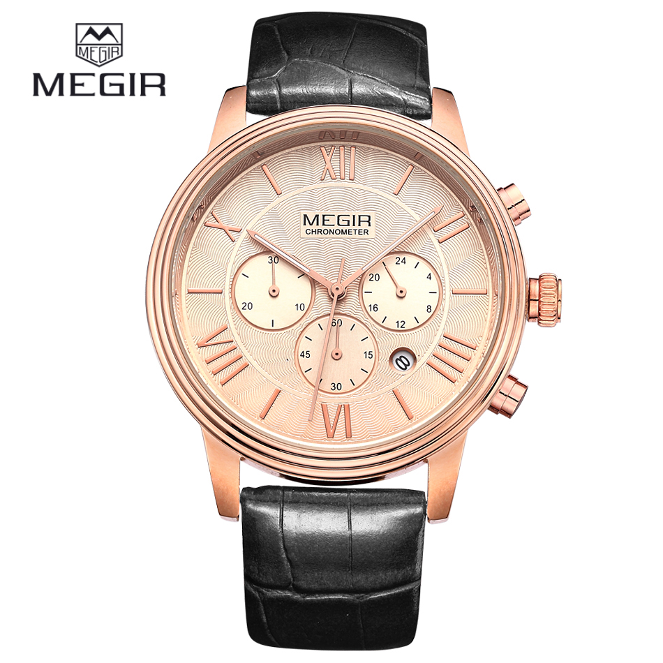 2016 New Fashion MEGIR Men Watches Chronograph Luxury Brand Montre Homme Black Leather Strap Mens Watch Rose Gold Wristwatches<br><br>Aliexpress