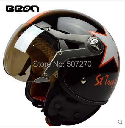 """Vintage Motorcycle Helmet ECE Approved BEON 3/4 Open Face Motocross Scooter """"France Map"""" Bright Black # Orange Star Helmet ##B04(China (Mainland))"""