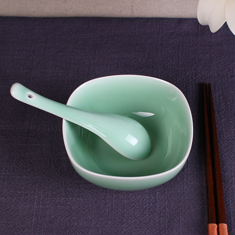 chinese celadon tableware rice bowl ceramic meters voluem square porcelain spoon korea style gifts - Celadon store