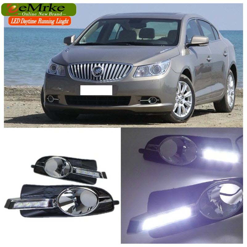 eeMrke Car LED DRL For Buick LaCrosse 2010 2011 2012 Xenon White Fog Cover Daytime Running Lights Kits(China (Mainland))