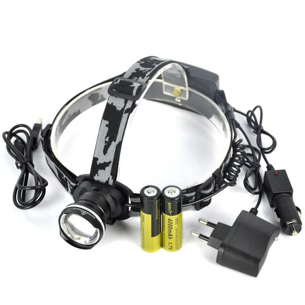 Купить 3 Режима Масштабируемые XM-L T6 СВЕТОДИОДНЫЕ Фары Головного Света 2000Lm Фонарик Факел Лампы + Ac/Автомобильное Зарядное Устройство + 2x18650 Батареи + USB Кабель