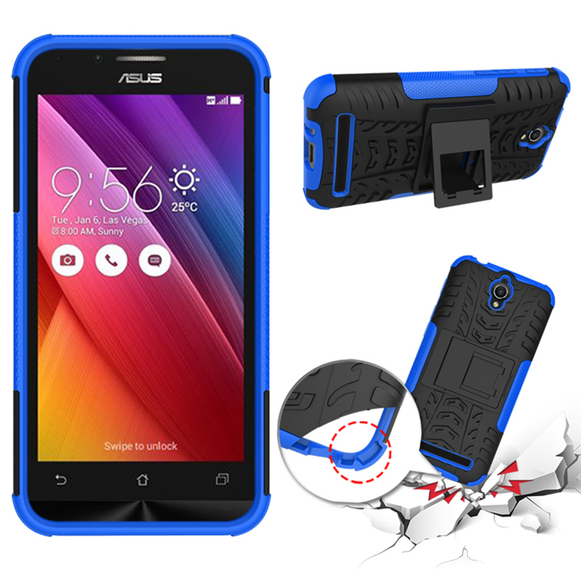 Military Armor Kickstand Phone Case Cover For ASus Zenfone Go ZC451TG ASUS_Z00SD Housing ZenFoneGo 4.5 inch Case 2 in 1 Hybrid(China (Mainland))