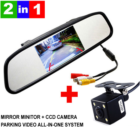 HD Video Auto Parking Monitor, LED Night Vision Reversing CCD Car Rear View Camera With 4.3 inch Car Rearview Mirror Monitor(China (Mainland))