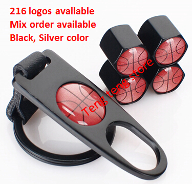 Car Keychain Keyrings Key Holder Wheel Tire Valve Caps Dust cover Nipples Basketball Basket ball(China (Mainland))