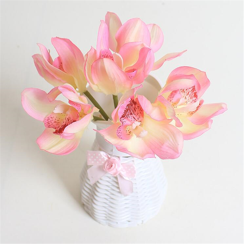 Real Touch cymbidium 6 flower heads/piece artificial flower cheap orchid artificial orchid decoration flower for home decoration(China (Mainland))