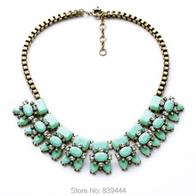 New Arrive Fashion Jewelry 2014 High end Elegant Resin Crystal Jewelry Choker Rhinestone Necklaces(China (Mainland))