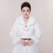 Boda chaquetas abrigos nupciales 2015 nuevo adultos novia coreano de manga larga de lana de cuello engrosamiento y el calentamiento(China (Mainland))