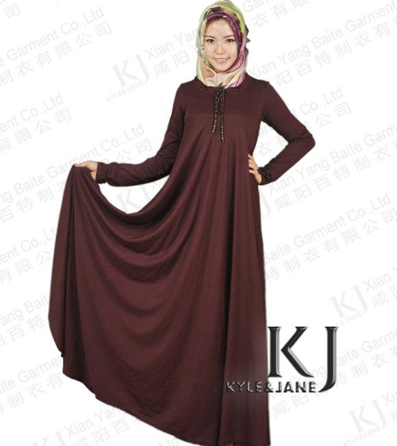 2014 New Designs Muslim Derss, Fancy Abaya,high Quality Dubai Abaya for Women 100% Cotton Middle-east Market Two Color Jilbab(China (Mainland))