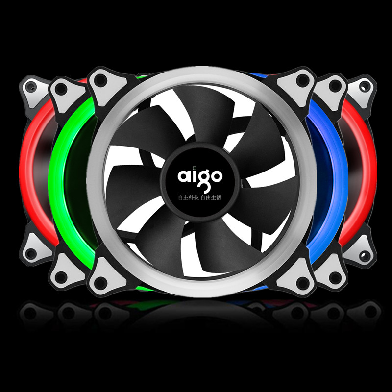 Aigo RGB Case Cooling Fan 120mm 6pin Silent Fan With LED Ring Adjustable Color Case Radiator Fan Computer Water Cooler Fan 12cm(China (Mainland))