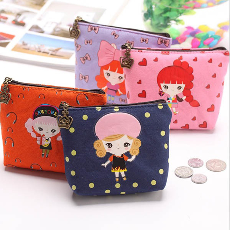 1 Pc Canvas Wallet Card Key Coin Purse Bag Pouch Case Pattern For Women Girl