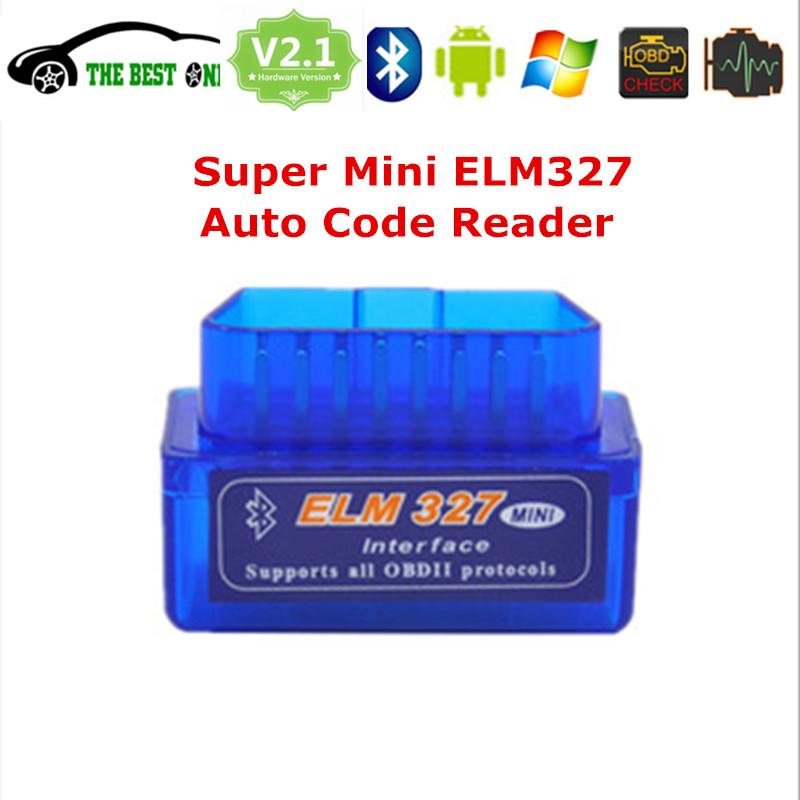 Free Ship Super Mini Elm327 Bluetooth V2.1 OBDII Interface ELM 327 OBD2 / OBD 2 Universal Car Diagnostic Tool On Android Windows(China (Mainland))