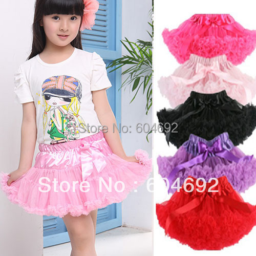 Kids Girls Solid Color Pettiskirt Tutu Skirt  Fluffy Skirt Dancewear Petticoat(Hong Kong)