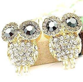 2014 Korean Fashion Romantic Elegant Charm Black Eye Full Rhinestone Owl Earrings Delicate Gorgeous Jewelry Accessories Hot(China (Mainland))