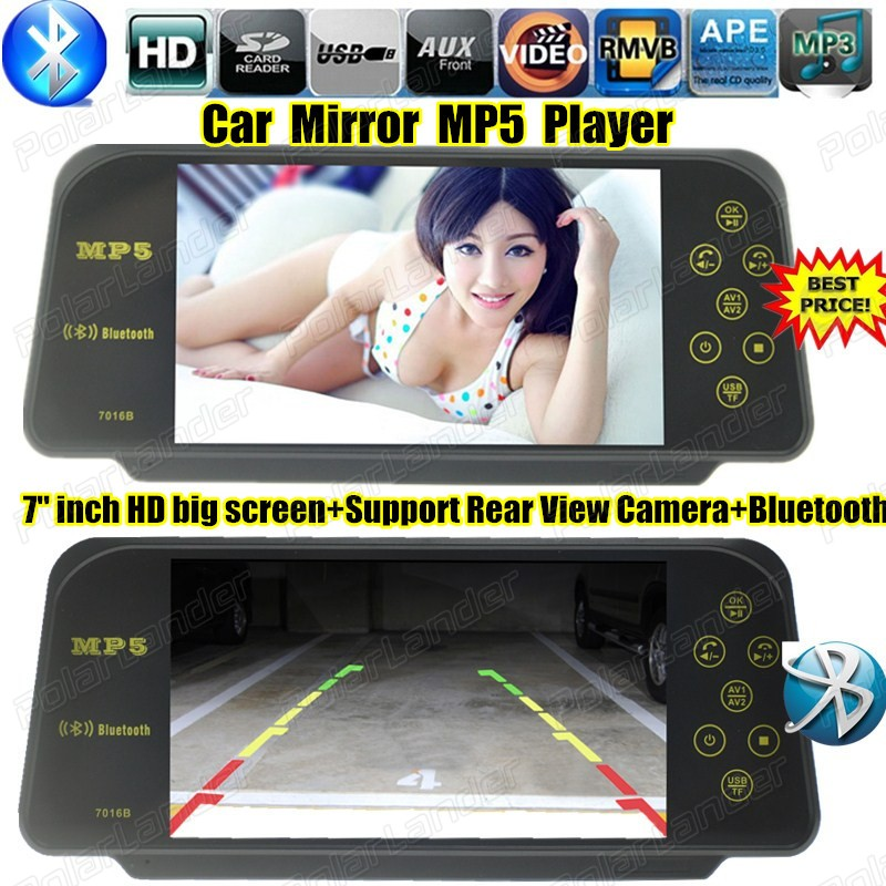 7'' inch HD Movie player car MP4 MP5 player TFT bluetooth Auto Mirror Monitor USB support rear view camera bluetooth function(China (Mainland))